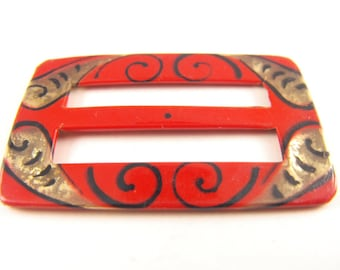 Celluloid Sash Buckle Art Deco Painted Details Early Plastics Signed Germany