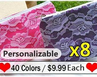 bridesmaid gift set of 8, bridesmaid clutch set of 8, gift for bridesmaid, gift bag, personalized gift, personalize clutch, lace clutch