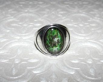 Green Fire Skull Marble Ring
