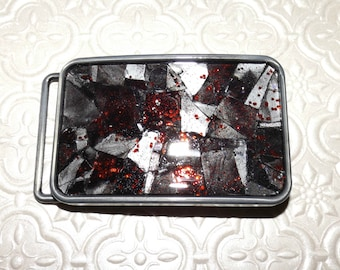 Smoked Ruby Shattered Mosaic Glass Belt Buckle