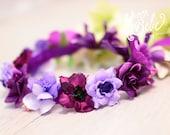 baby flower crown, purple floral crown, plum flower girl flower crown, baby floral headband, floral headband for babies, flower headband