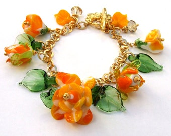 Handmade Lampwork Glass Bracelet, Romantic Roses Bracelet, Yellow, Orange and Green, Floral Bracelet, Made to Order
