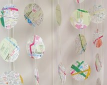 London Street Map Garland 10ft Long - Map Bunting, Mobile, Nursery Decoration, Baby Shower, Bon Voyage Decor, Map Paper Garland