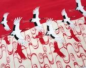 Japanese tenugui fabric red tsuru the japanese Crane, Japanese fabric, tsuru fabric, tenugui, kawaii fabric