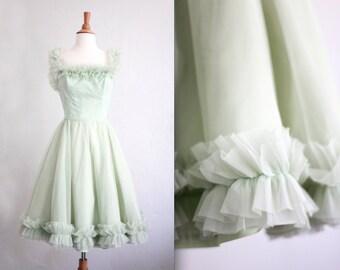 Vintage 1950's 50s Green Ruffle Tea Prom Dress