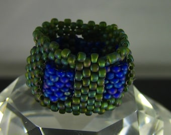 Green and Purple Seed bead ring size 7