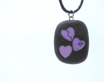 Broken Heart Pendant, Mended heart Necklace,  Purple and Black Heart Jewelry, Handmade Polymer Clay