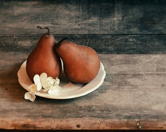 Fruit Art Print, Still Life Photography, Farmhouse Kitchen Art, Wall Decor, Rustic Home Decor | 'Quite A Pear'