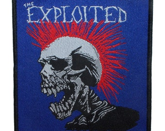 """Punk Art """"The Exploited"""" Mohican Punk Mohawk Skull UK Hardcore Rock Band Woven Sew On Applique Patch"""