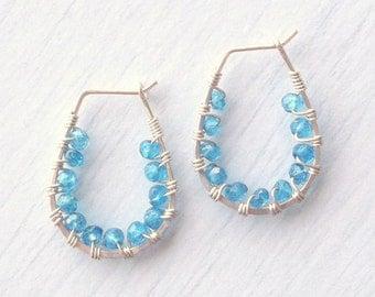 Sterling Silver & Apatite Wrapped Hoop Earrings