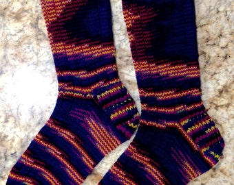 Hand Knit Womens Wool Socks - Handknit - Cascade Hand Painted sock yarn (S-168)