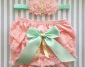 Baby Girls pink Lace Bloomer-Diaper Cover set-Pink and gold 1st birthday outfit-mint and gold 1st birthday-cake smash outfit-pink mint gold