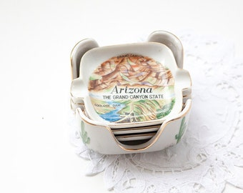 Vintage Ash Tray Set with Caddy, Arizona Souvenir Ash Tray