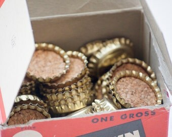 Box of Vintage Crown Bottle Caps with Cork