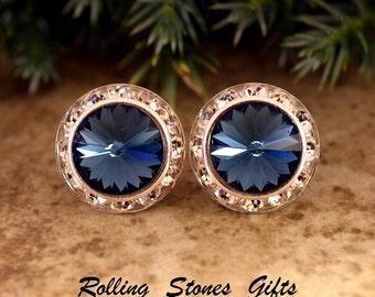 15mm Montana Blue Silver Swarovski Surrouds Rhinestone Stud Earrings-Large Montana Blue Crystal Studs-Large Dark Blue Swarovski Studs