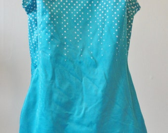 Vintage Pin Up Style Swimsuit ~ Retro Swimsuit ~ Teal Swimsuit ~ 50's Swimwear ~ 60's Swimwear ~ Polka Dot Bathing Suit ~ Polka Dot Clothes