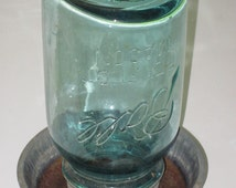 Antique Metal Chicken Waterer or Feeder Base with Blue Ball Canning Jar Top