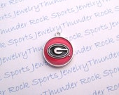 3 Georgia Bulldogs Charms Silver Plated University Logo Round Pendants