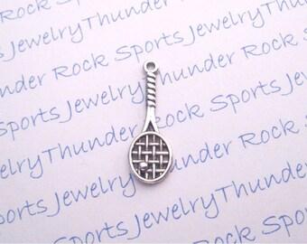 10 Antique Silver Tennis Racquet Pendants Sports Charms