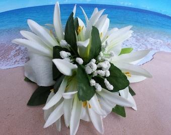 Tropical silk flower hawaiian hair clip (25)