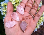 ELECTROFORMED pure Copper ROSE Quartz crystal Arrowhead - any length chain