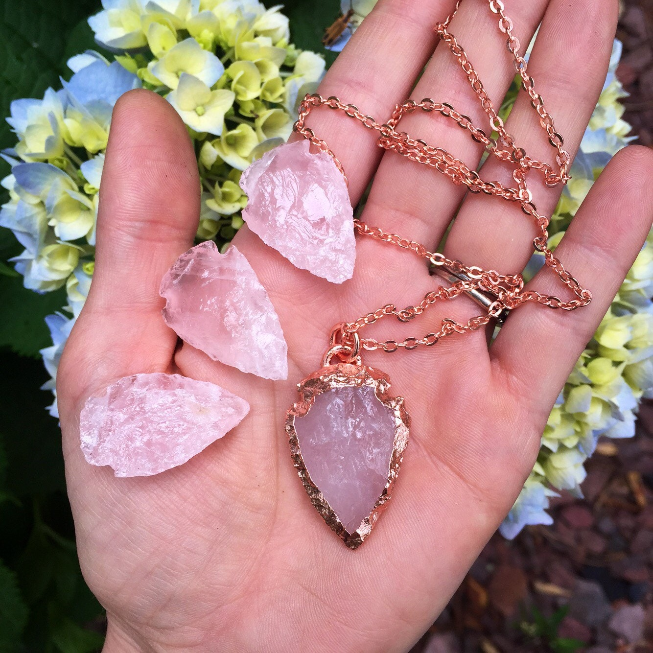 electroformed pure copper rose quartz crystal by