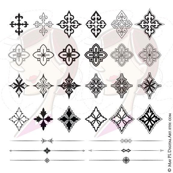 Decorative Cross VECTOR Clipart Jpeg Png Graphic Retro