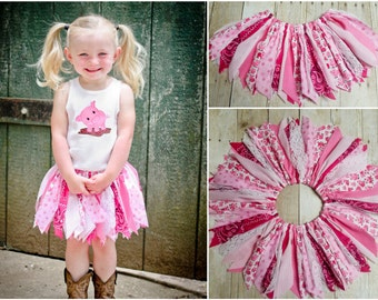 Infant to Child Sizes - PINK Piggy Scrap Tutu - Pig Fabric, Bandana, Gingham, Floral, Lace - Made to Order - Farm Girl