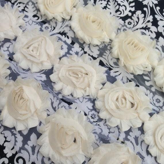 Cream Shabby Chiffon Flowers for making headbands & crafts ivory off white baptism blessing wedding christening wholesale yard