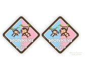 2X monkeys on board car stickers - baby boy with big sister brothers car bumper sticker  - CD27S