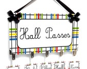 teachers hall passes sign - red blue yellow green white and black big plaid theme pass bathroom office tag - HP22 Teacher Gift