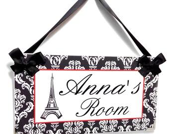 custom grey damask pattern door sign - girls paris french themed bedroom decor - eiffel tower  - P673