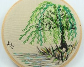 Japanese Calligraphy with Hand Embroidered Weeping Willow Tree - 4 inch hoop, lake, nature, great gift, orient, custom work available