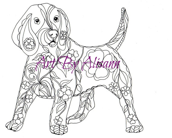 Beagle Coloring Page Digital Download Love Dogs