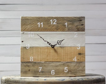 ORIGINAL Reclaimed Pallet Wood Wall Clock (Antique White)