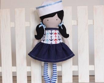 Handmade Girl Cloth Doll Rag Doll 12 inch Sailor Girl My Fashion Doll Soft Dress Up Doll Holiday Anchors Riley Blake designed fabric