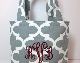 X-SMALL gray and white Quatrefoil Handbag/ Purse/ Tote/ Flower Girl Gift