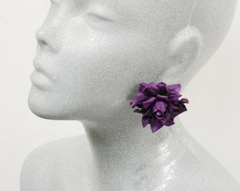 Purple rose leather earrings