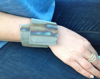 Wire Mesh Cuff - Wrap Bracelet in Color Kissed Stainless Steel Wire Mesh - Exotic Textured Design