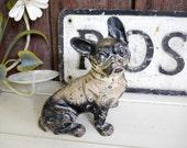 Rare Antique Hubley French Bulldog Iron Dog 1930s Industrial Doorstop Folk Art Sculpture Vintage French Country Farmhouse Decor