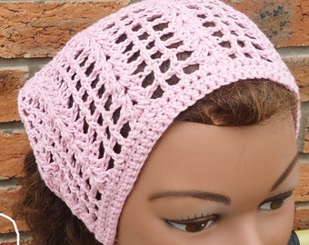 Crochet Bandana, Crochet Headband, Crochet Kerchief, Women Accessories,Bandana in Pink, UK Seller