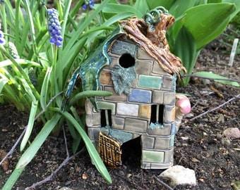 Twigs N Mortar Fairy House, Ceramic Garden Sculpture