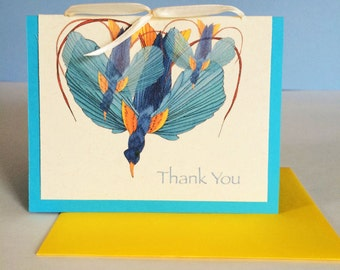 Bird of Paradise 1 Thank You Greeting Card - Set of 10- Available Blank