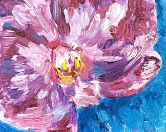 Orchids Small Mini Oil Painting Purple Orchid 4 x 4 Gallery Wrapped Canvas Impressionism Orchid Bloom Phalaenopsis