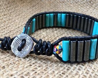 Magnasite Hematite mens bracelet