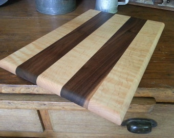 Cutting Board / Cheese Board, Black Walnut, Curly Maple