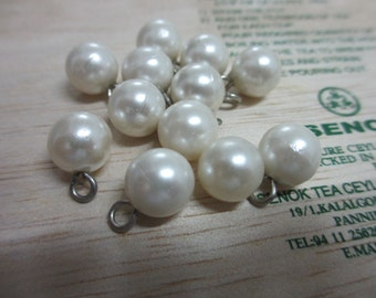 18 New 10 mm Small Tiny Mini Bridal Full Round Pearl Button with Metal Loop Shank
