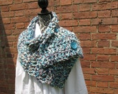 Button Scarf Crochet Acrylic Washable Large Turquoise Purple White Grey Warm Soft Handmade Adjustable Cowl Capelet