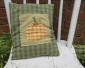 Accent Pillow Tuck Art Homespun Colorful Soft Handmade Halloween Fall Country Embroidery Pumpkin