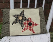 Accent Pillow Tuck Button Art Homespun Colorful Soft Handmade Country Embroidery Star Americana Red Black Prim